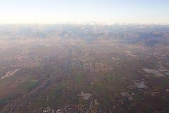Vista dell'aeroplano dell'Italia Immagine Stock