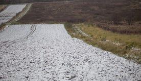 Vista dell'agricoltura nevosa del campo Fotografia Stock Libera da Diritti