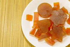 Vista dell'albicocca della gelatina di frutta candita da sopra Fotografia Stock