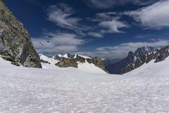 Vista dell'alpe a giugno dall'area della sommità di Punta Helbronner Immagini Stock