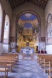 Vista dell'altare della chiesa della visitazione, Ein-Kerem, Gerusalemme, Israele Fotografia Stock