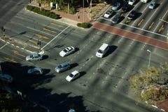 Vista dell'angolo alto dell'intersezione della strada Immagini Stock Libere da Diritti