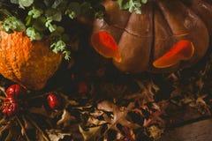 Vista dell'angolo alto della lanterna della presa o con le foglie di autunno durante il Halloween Immagini Stock