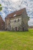 Vista dell'angolo del castello di Borgeby Immagini Stock