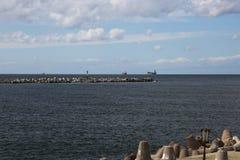 Vista dell'area dell'acqua del porto marittimo Baltiysk fino al 1946 - Pillau, Fotografia Stock