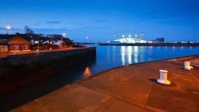 Vista dell'arena O2 dall'isola dei cani, Londra Fotografia Stock