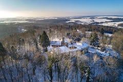 Vista dell'aria di Schloss Hohenstein Fotografie Stock Libere da Diritti