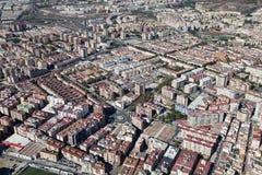 Vista dell'aria di una zona residenziale a Malaga. Fotografie Stock