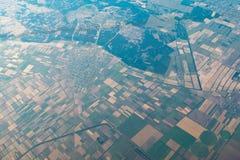 Vista dell'aria su paesaggio con a forma di geometrico Immagini Stock Libere da Diritti