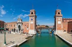 Vista dell'arsenale famoso a Venezia, Italia fotografia stock