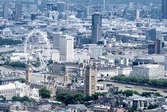 Vista dell'elicottero delle Camere del Parlamento e di Big Ben, Londra immagini stock libere da diritti