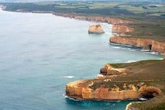 Vista dell'elicottero di grande strada dell'oceano - Australia Fotografie Stock Libere da Diritti