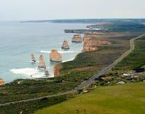 Vista dell'elicottero di grande strada dell'oceano - Australia Immagine Stock