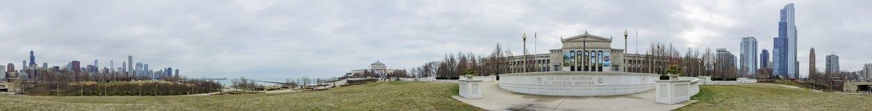 vista 360 dell'entrata principale dell'acquario e dell'orizzonte di Shedd Immagine Stock