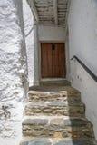 Vista dell'entrata principale di una casa rustica, in La Alpujarra, G Fotografia Stock