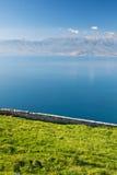 Vista dell'erba verde e del mare in giorno pieno di sole Fotografia Stock Libera da Diritti