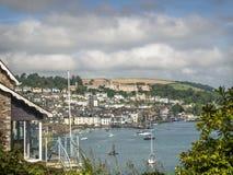 Vista dell'estuario della città di Dartmouth e dell'istituto universitario navale reale di Britannia Fotografia Stock Libera da Diritti