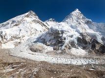Vista dell'Everest, di Lhotse e di Nuptse Fotografie Stock