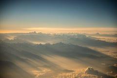 Vista dell'Himalaya dall'aeroplano Immagini Stock