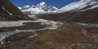 Vista dell'Himalaya (picco di Awi) da Pheriche Fotografia Stock Libera da Diritti