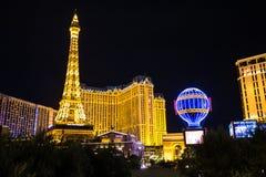 Vista dell'hotel e del casinò di Parigi Las Vegas alla notte, LAS VEGAS, U.S.A. Immagine Stock Libera da Diritti