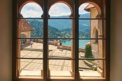 Vista dell'iarda superiore del castello Bled, Slovenia Fotografie Stock Libere da Diritti