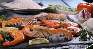 Vista dell'ingrediente per una paella spagnola dei frutti di mare Fotografie Stock Libere da Diritti