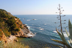 Vista dell'insenatura della Costa Brava di Palamos fotografia stock libera da diritti
