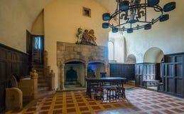 Vista dell'interno nel castello di Doune, fortezza medievale vicino al villaggio di Doune, nel distretto di Stirling della Scozia Immagini Stock Libere da Diritti
