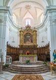Vista dell'interno nella cattedrale del ² di Agrà del ` di Forza d, provincia di Messina, Sicilia, Italia del sud immagine stock libera da diritti