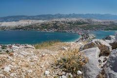 Vista dell'isola del PAG, Croazia fotografia stock libera da diritti