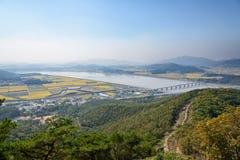 Vista dell'isola di Ganghwa e della pianura di Gimpo Immagini Stock