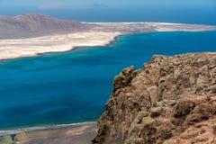 Vista dell'isola di graciosa dal del Rio di mirador Immagini Stock