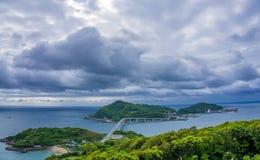 Vista dell'isola di Iojima a Nagasaki, Giappone Fotografie Stock