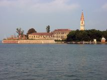 Vista dell'isola di Povella, laguna veneziana, Italia fotografia stock