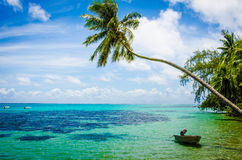 Vista dell'oceano del Pacifico Meridionale dalla riva Fotografia Stock