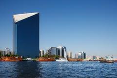 Vista dell'orizzonte dei grattacieli del Dubai Creek, UAE Fotografie Stock Libere da Diritti