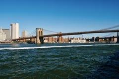 Vista dell'orizzonte del Lower Manhattan da Brooklyn fotografia stock libera da diritti