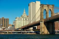 Vista dell'orizzonte del Lower Manhattan da Brooklyn Fotografie Stock