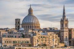 Vista dell'orizzonte del lungonmare di La Valletta, Malta Immagini Stock Libere da Diritti