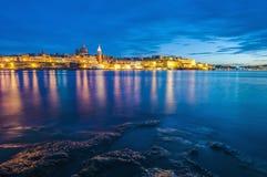 Vista dell'orizzonte del lungonmare di La Valletta, Malta Fotografia Stock Libera da Diritti