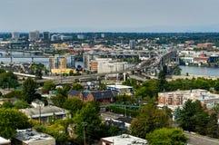 Vista dell'orizzonte della città sopra Portland Oregon Stati Uniti d'America Fotografia Stock Libera da Diritti