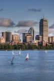 Vista dell'orizzonte di Boston da Charles River Fotografia Stock Libera da Diritti