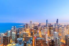 Vista dell'orizzonte di Chicago sopra il lago Michigan Fotografia Stock Libera da Diritti