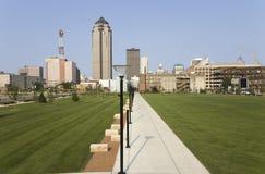 Vista dell'orizzonte di Des Moines fotografie stock