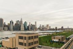 Vista dell'orizzonte di Manhattan da Brooklyn Heights a Brooklyn, Fotografia Stock