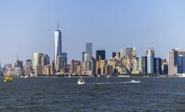 Vista dell'orizzonte di New York da Hudson Fotografie Stock Libere da Diritti