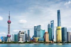 Vista dell'orizzonte di Pudong Lujiazui, Shanghai, Cina Fotografie Stock Libere da Diritti