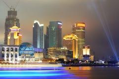Vista dell'orizzonte di Pudong, Schang-Hai, Cina fotografie stock libere da diritti