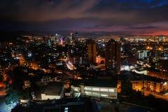 Vista dell'orizzonte di tramonto del ¡ di BogotÃ, Colombia immagine stock libera da diritti